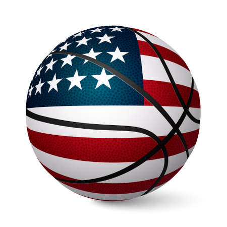 Basketbal bal vlag van de VS op een witte achtergrond. Vector EPS10 illustratie.