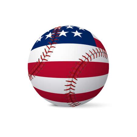 Honkbal vlag van de VS op een witte achtergrond. Vector EPS10 illustratie.