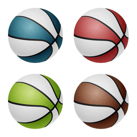 basketballs: Combinated color basketballs. Isolated on white background. Vector EPS10 illustration.