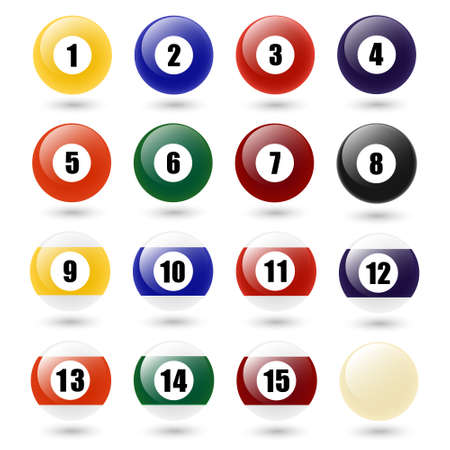 five to twelve: Colored Pool Balls. Numbers 1 to 15 and zero ball. Isolated on white. Vector EPS10 illustration.