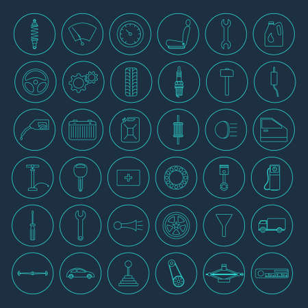 jack hammer: Set of 36 simple car parts icons. Vector EPS8 illustration.