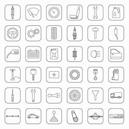 hopper: Set of 36 car parts icons. Vector EPS8 illustration. Illustration