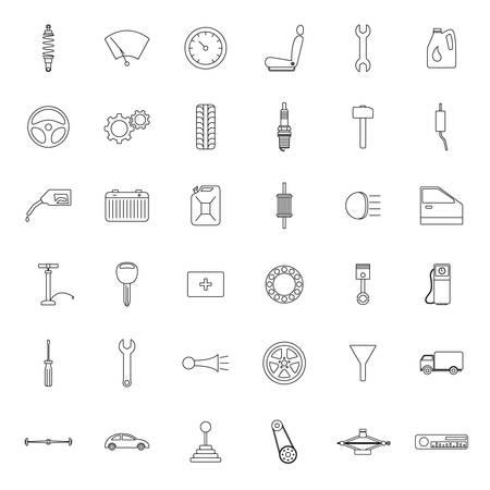 hopper: Set of car parts icons. Vector EPS8 illustration. Illustration