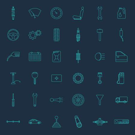 muffler: Set of car parts icons. Vector EPS8 illustration. Illustration