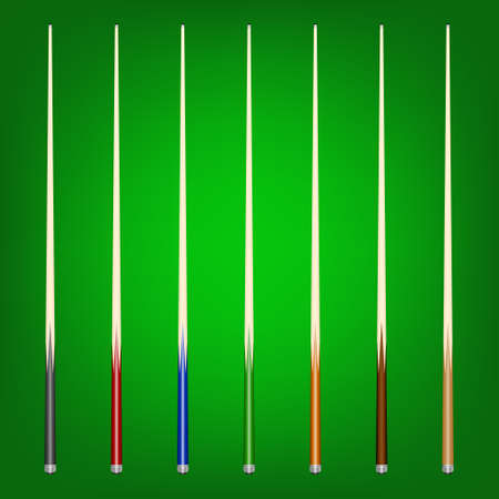 Einsatzzeichen: Satz von 7 verschiedenen Billardst�cke auf einem gr�nen Hintergrund. Vektor-Illustration eps8. Illustration