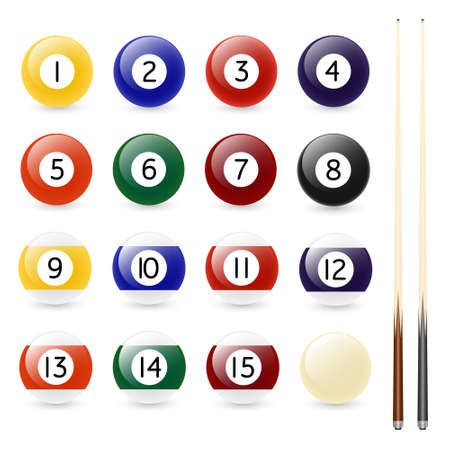 pocket billiards: Pool - billiard balls and two cues isolated on white. Vector set. EPS8. Illustration