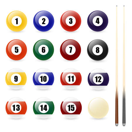 pool cues: Pool - billiard balls and two cues isolated on white. Vector set. EPS8. Illustration