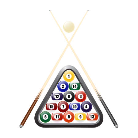 cues: Billiards balls, triangle and two cues. Isolated on white. Vector EPS10 illustration.