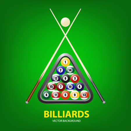 billiards cues: Background with billiards balls, triangle and two cues. Vector EPS10 illustration. Illustration