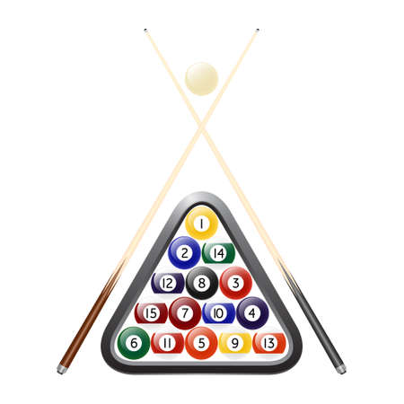billiards cues: Billiards balls, triangle and two cues. Isolated on white. Vector EPS10 illustration.