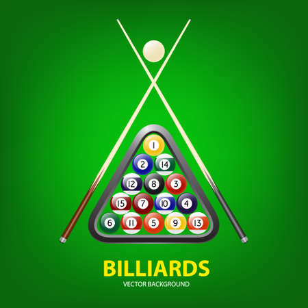 cues: Background with billiards balls, triangle and two cues. Vector EPS10 illustration. Illustration