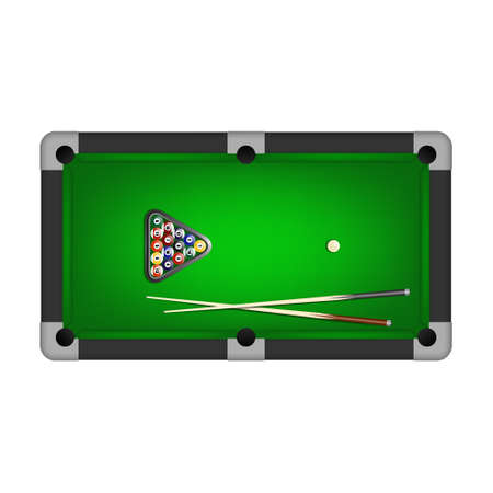 pool tables: Billiards balls, triangle and two cues on a pool table. Vector EPS10 illustration.