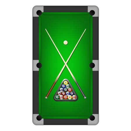 Einsatzzeichen: Billard-Kugeln, Dreieck und zwei Hinweise auf einem Billardtisch. Vektor-Illustration eps10.