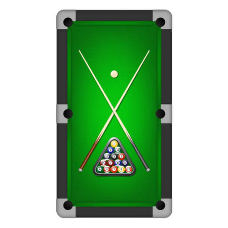 billiards cues: Vector billiards balls, triangle and two cues on a pool table