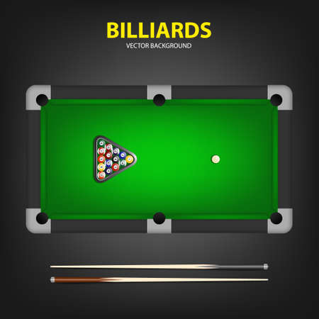 cues: Billiard balls in triangle and two cues on a pool table. Vector EPS10 background.