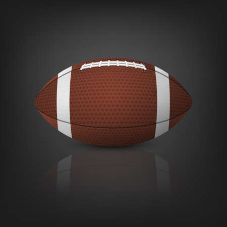 reflection of life: American football ball with reflection on a black background. Vector EPS10 illustration.