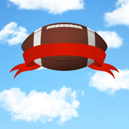 rugger: Realistic 3d american football ball with red ribbon flying in the sky. Vector EPS10 background.