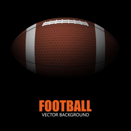 Dark background of realistic american football ball isolated. Vector EPS10 illustration.