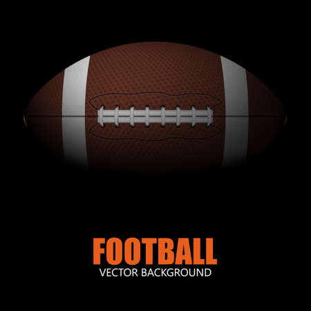 ball game: Dark background of realistic american football ball isolated. Vector EPS10 illustration.