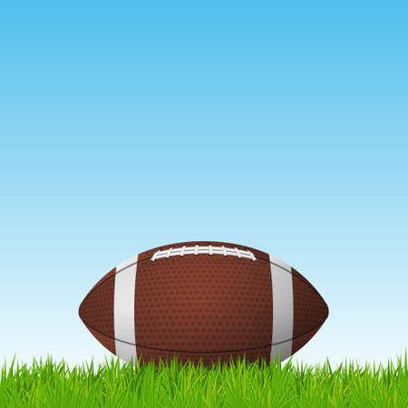 speelveld gras: Football ball on a grass field. Vector EPS10 illustration. Stock Illustratie