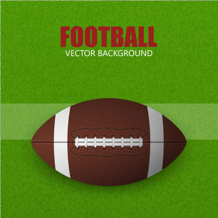 rugger: Football ball on a grass field. Vector background.