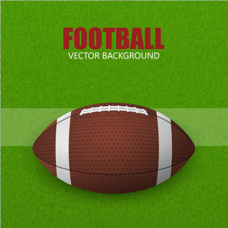 rugger: Football baccground, ball on a field. Vector illustration.