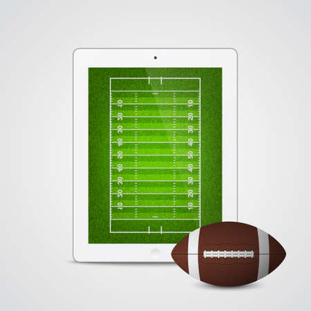 Tablet with american football ball and field on the screen. Vector EPS10 illustration. Vector