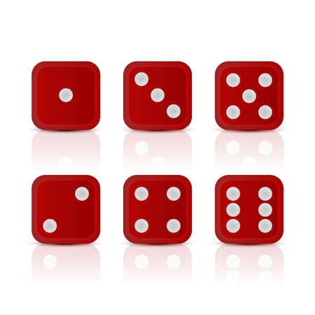 tossing: Six red dices for games with all the numbers. Vector EPS10 illustration.