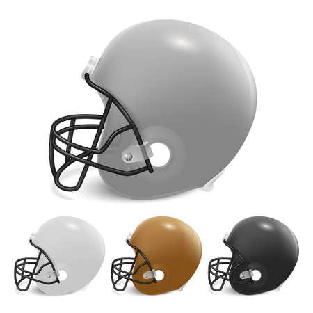 football helmets: American football helmets set.  Isolated on white background. Vector EPS10 illustration.