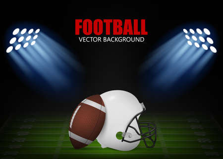 American football background - helmet and ball on the field,  illuminated by floodlights. Vector EPS10 illustration. Vector