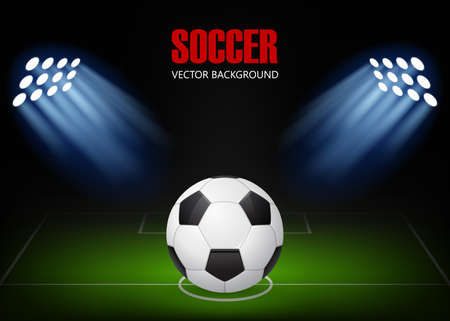 Soccer background - ball on the field, illuminated by floodlights. Vector EPS10 illustration. 矢量图像