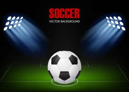 Voetbal achtergrond - bal op het veld, verlicht door schijnwerpers. Vector EPS10 illustratie. Stock Illustratie