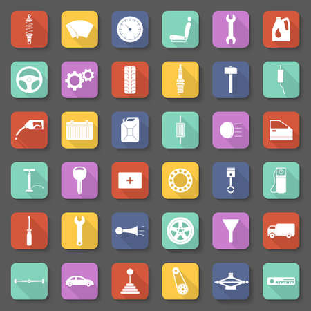 vector set: Car service icons set, car parts set in flat style with long shadows. Vector EPS10 illustration. Illustration