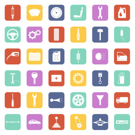 Car service icons set, car parts set. Vector EPS8 illustration.