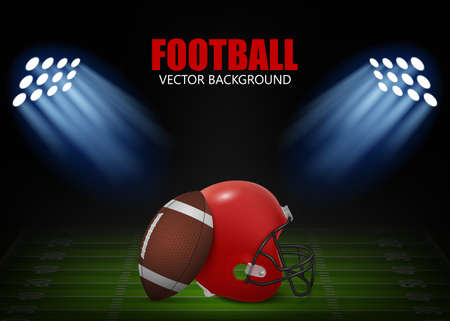 American football background - helmet and ball on the field,  illuminated by floodlights. Vector EPS10 illustration.