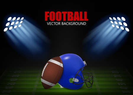 bleachers: American football background - helmet and ball on the field,  illuminated by floodlights. Vector EPS10 illustration.