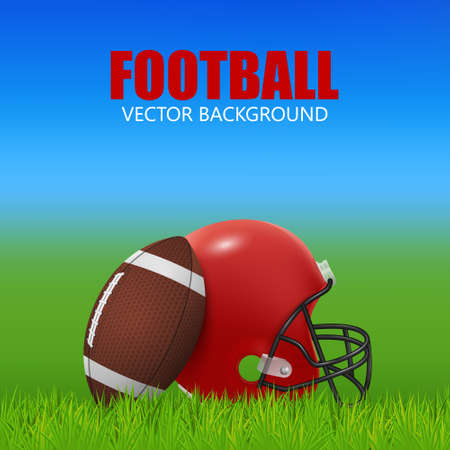 bleachers: American football background - red helmet and ball on the field. Vector EPS10 illustration. Illustration