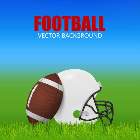 ball field: American football background - white helmet and ball on the field. Vector EPS10 illustration.