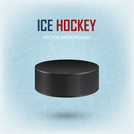 Black realistic hockey puck on ice rink - vector background.