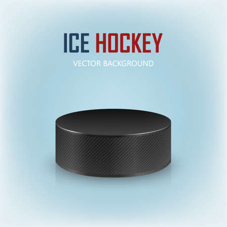 ice surface: Black realistic hockey puck on ice rink - vector background.