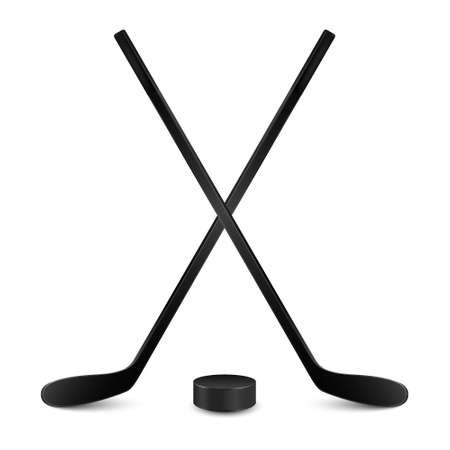 Two crossed hockey sticks and hockey puck. Isolated on white background. Vector illustration.  イラスト・ベクター素材
