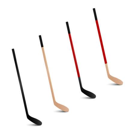 hockey sobre hielo: Cuatro palos de hockey sobre hielo realistas 3d. Conjunto de vectores.