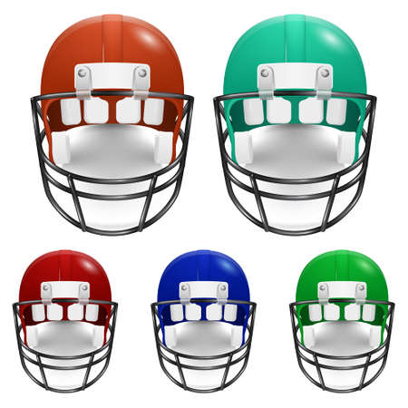 football helmets: American football helmets set. Vector illustration.