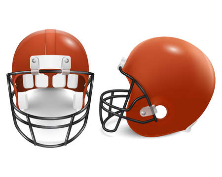 canadian football: Two orange football helmets - front and side view. Vector illustration.