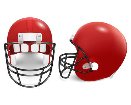 canadian football: Two red football helmets - front and side view. Vector illustration.