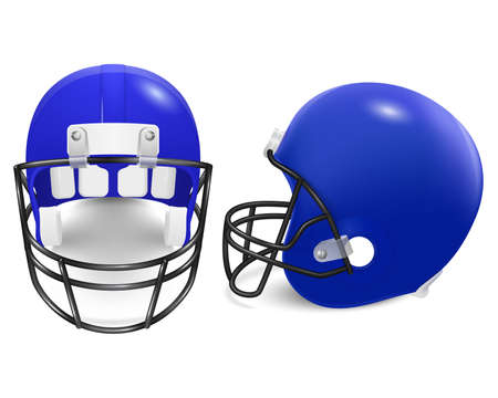 football helmets: Two blue football helmets - front and side view. Vector illustration.