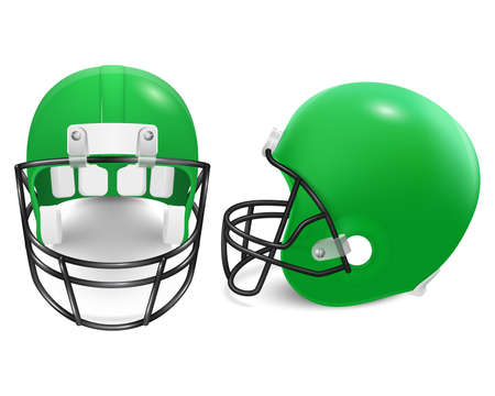 football helmets: Two green football helmets - front and side view. Vector illustration. Illustration