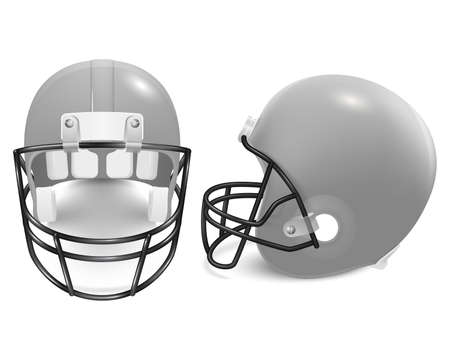 canadian football: Two gray football helmets - front and side view. Vector illustration. Illustration