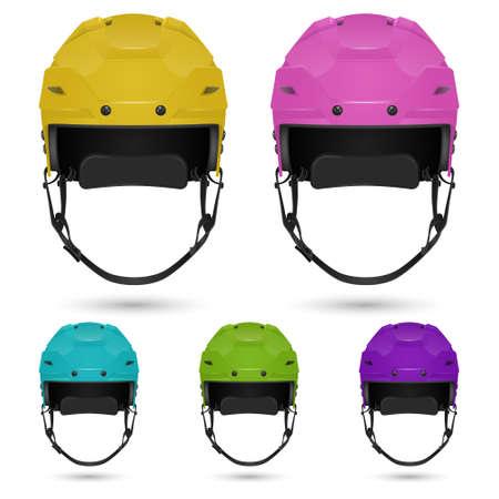 icehockey: Ice hockey helmets set, isolated on white. Vector  illustration. Illustration