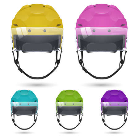 visor: Set of ice hockey helmets with visor, isolated on white background. Vector  illustration. Illustration